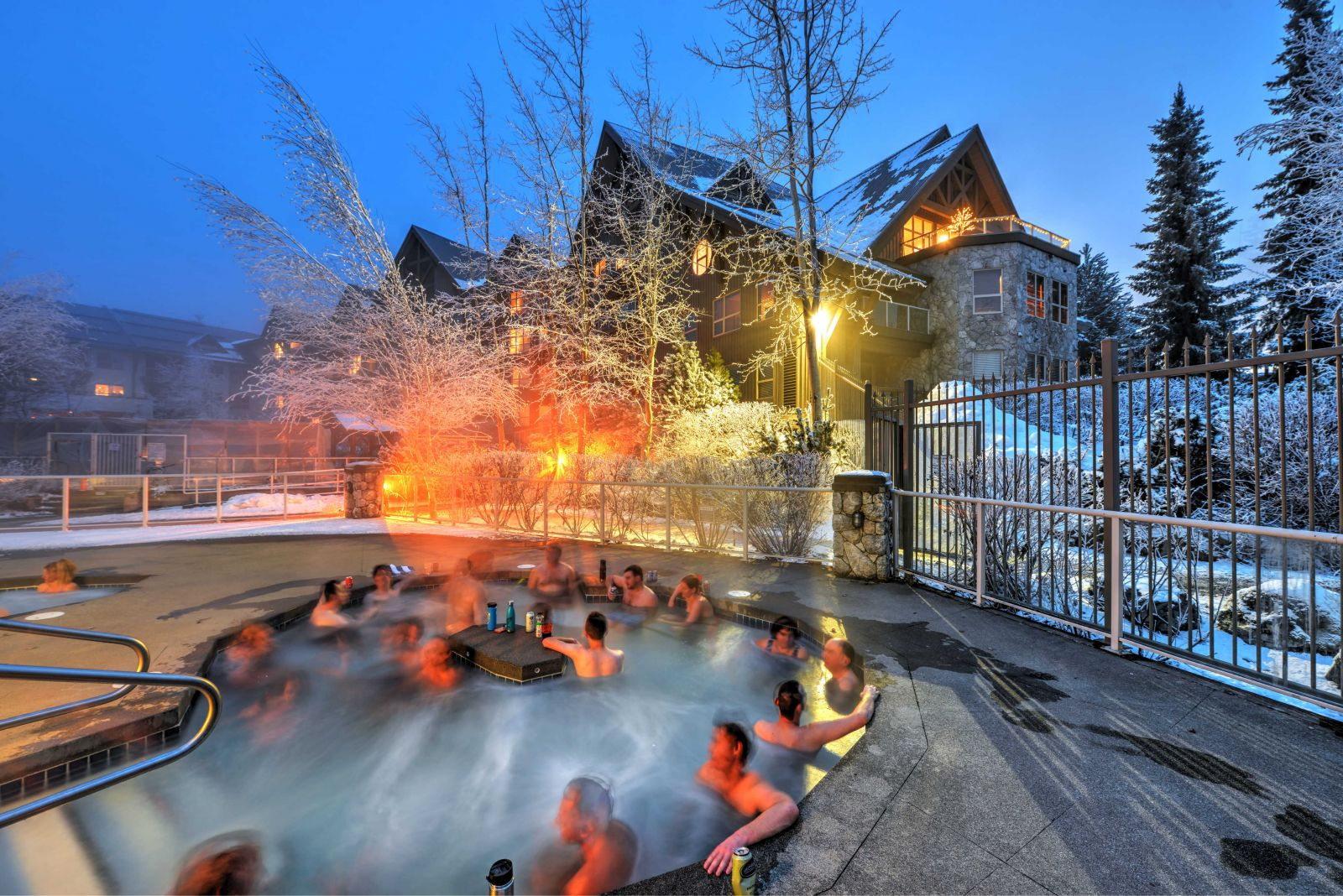 Aspens Lodge hot tub in winter