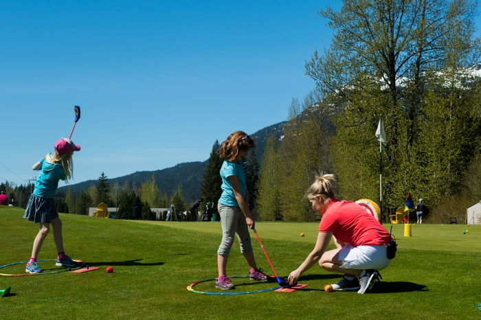Kids playing golf at Whistler Go Fest