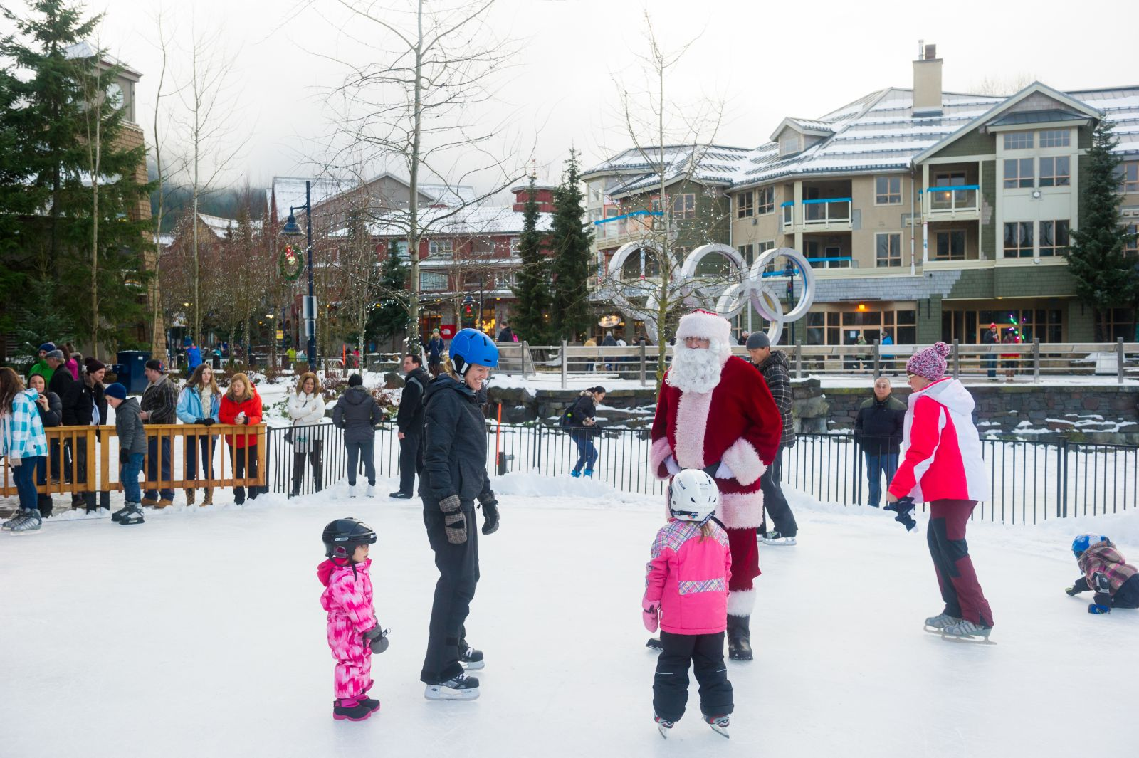 Ice skating with Santa in Whistler