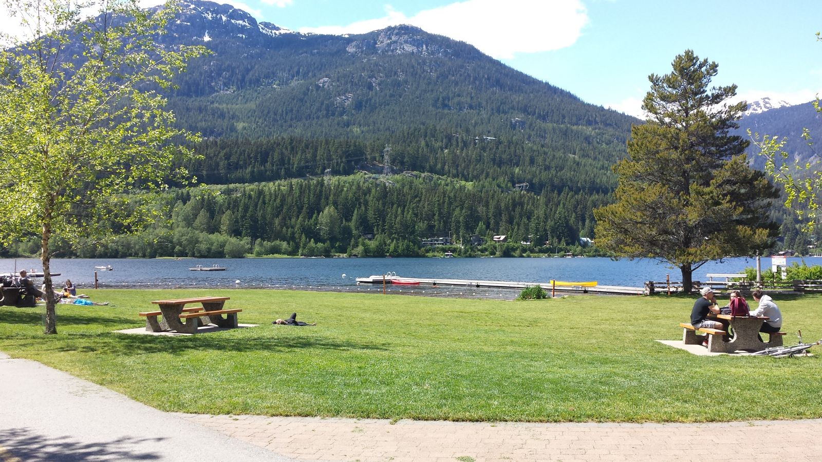 Picnic tables at Alta Lake in Whistler