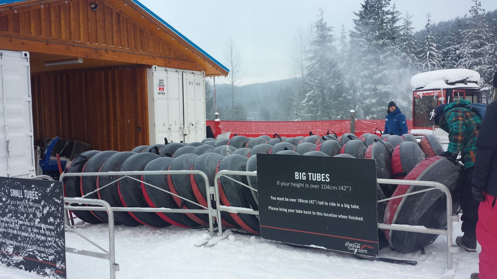 Tubes lined up at the Whistler Coca-Cola Tube Park