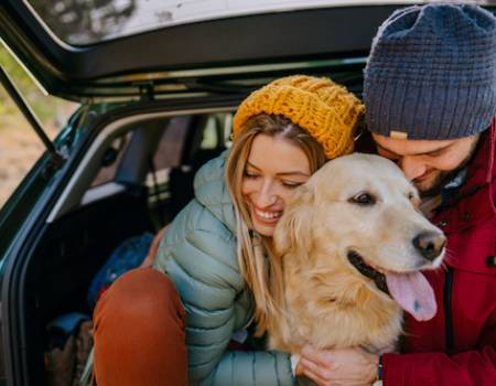 A family roadtrip to Whistler with their dog