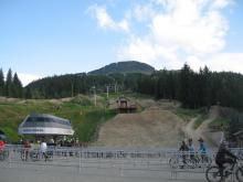 The Whistler Bike Park with the Crankworx pro jumps at the bottom